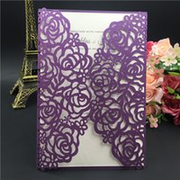 Wholesale 2016 Printable Laser Cut Purple Wedding Invitation Thanksgiving Card with Embossed Flower with Envelope Seal