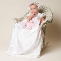 Wholesale Lovely Baby Birthday Party Dresses Ivory White Taffeta Long Christening Dress with Sash Short Sleeve Custom Made Plus Size vestidos