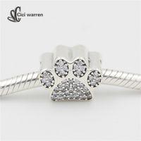 animal print pens - Fine jewelry sterling silver jewelry making pent charms sterling silver jewelry Paw Prints charm fit bracelet DIY CH348