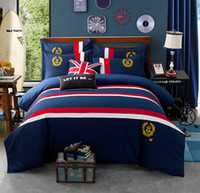 bedding sets uk - England European Style UK Bedding Sets Cotton Pieces Printing Printed Embroidered Pattern Navy Blue For Boy High Quality