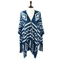 aztec sweaters for women - Plus Size Poncho Aztec Tribal Geometric Long Asymmetrical Cloak Sweaters Cardigan For Women Sweater