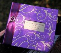 Mariage Attractive classique Carte pourpre Invitations Carte personnalisée Handmade Of Gold Embossed design Livraison gratuite