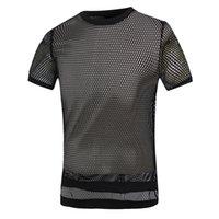 Cheap Short sleeve t shirt sexy see through quick dry fabric 100% polyester mesh t shirt men