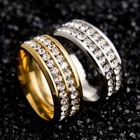 Wholesale Diamond Wedding Ring l Stainless Steel Engagement Rings Men Women Wedding Titanium Steel Rings Silver Gold
