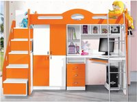 Wholesale MDF Panels Children kids Bunk Bed with Stairs and Drawer Colour Blue
