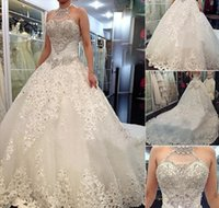 Wholesale Moeden And Sexy Tulle Ball Gown Wedding Dress Major Beads Garden Style Wedding Dresses Lace Crystal Bow Dresses Hot Sale