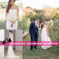 beautiful barn - 2016 Beautiful Intimate Barn Garden Mermaid Wedding Dresses with Lace Appliques Fit and Flare Fishtail Skirt Full Length Beaded Bridal Gowns