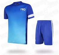 Wholesale 2016 New Arrival Sport Suit Badminton Soccer Jersey Set Men Blank Paintless Football Training Suit Breathable Short Sleeve Customized