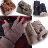 Wholesale half finger gloves Sheepskin gloves Australia Real sheepskin women s gloves thick warm winter gloves Fingerless Gloves