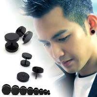 Wholesale Mens Earrings Korean punk hip hop rock round black mens titanium earrings trendsetter dumbbell spiral Earrings factory direct