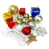 balls boxes including - 1Set Decorations Big Gift Set Tree Ornament Xmas Pendant Hanging Merry Christmas Bell Including Ball Gift Box