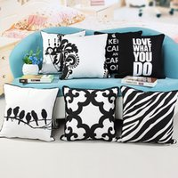 Wholesale Black and White Printed Cotton Canvas pillowcase cushion pillow sham Bird Geometric Decorative Pillow x45CM