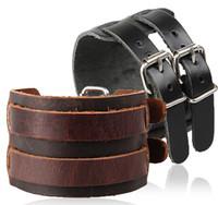 Wholesale New Fashion Europe Bracelet Hot Sale Genuine Cow Leather Double Buckle Men Bracelets Wristband Belt Punk Rock Cuff Bangle