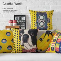 banana dogs - 45cm Fashion pop art Yellow Banana Dog Lips Cotton Linen Fabric Waist Pillow inch Hot Sale New Home Decorative Sofa Car Back Cushion