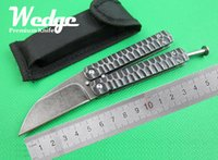 best fishing knife - WEDGE OEM Vicissitudes version Ancient Fish Customize Balisong plate Titanium Steel Folding Pocket Hunting knife Jackknife Best Gift Knives