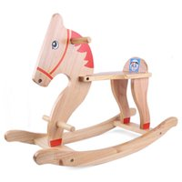 Wholesale 2016 safety and environmental protection Trojan imported wood baby rocking horse Bouncers toy infant age gift
