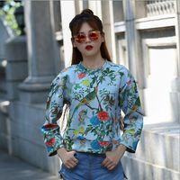 Wholesale 2016 Autumn Winter Women Flowers Printed Hoodies Lady Flowers Birds Pattern O Neck Long Sleeve Sweatshirts Coat Tops