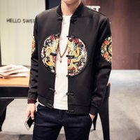Wholesale Chinese wind lines from China dragon space cotton men s fleece jacket to add flocking without drop shipping
