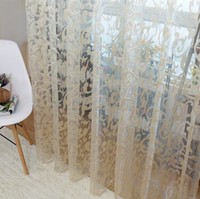balcony design - New Hot Sale European style jacquard leaf design tulle fabrics sheer curtains for balcony