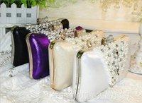 Wholesale Solid Crystal Velvet Bridal Hand Bags Evening Clutch Bags Wedding Handbag Designer Formal Party Beaded Purse Black Carpet Handbags Colors