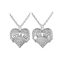 Bohemian big love family - Big Sis Little Sis Necklace With Big Clear Stone Heart Pendant Family Love Gift Children Jewelry for Sister