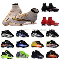 Mid Cut ankle tassels shoes - 2016 MERCURIAL SUPERFLY V FG football soccer shoes Boots CR7 Cleats mercurial superfly Original Golden Blue High Ankle Soccer Cleats