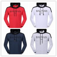Wholesale 2016 BALMAIN SWEATER WITH BIKER DETAILS Men Fashion Hoodie COTTON Long Sleeve Balmain Sweater Men For Birthday Gift