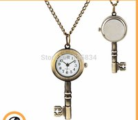 acrylic key fobs - golden snitch pocket Key watches necklace with chain antique pocket fob watches PW014