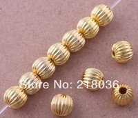 Wholesale Fashion Vintage Round Gold Plated Alloy Spacer Charms Finding Loose Bail Beads DIY Jewelry Findings mm N366