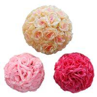 Wholesale 18cm Artificial Silk Rose Pomander Flower Balls Wedding Party Bouquet Home Decoration Ornament Kissing Ball New
