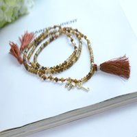 Wholesale The European and American fashion female joker agate beads alloy necklace Jewelry Popular for men Long Sweater Chain