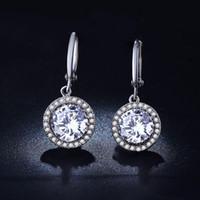 alphabet cushions - Classic Design White Gold Plated Cushion Cut Big Carat CZ Diamond Wedding Drop Earrings for Women E825
