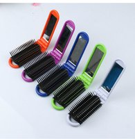 antistatic brush - Candy Color Hair Comb Foldable Hair Comb Hair Care Styling Tools Two Way Handy Hairbrush Plastic Antistatic Folding Comb for travelling
