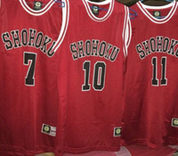 Wholesale SLAM DUNK Cosplay Shohoku School Basketball Team No Sakuragi Hanamichi Cosplay Costume Jersey Tops Shirt Sports Wear Vest