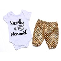 baby onesie sets - Baby Girl Mermaid Outfit Newborn Mermaid Shorts Matching Onesie Set Toddler Girls Slothing color and size free EMS or DHL
