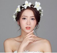 Wholesale Artificial Flower Garlands Bridal Hair Jewelry Tiaras Wedding Flower Rattans Hair Accessories Hairbands Mixed Color DHL Free