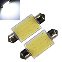 Wholesale 2PCS High Quality mm Festoon COB Chips DC V Universal LED Car Dome Reading Lights License Plate Door Backup Lights