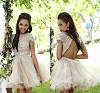 Wholesale Cute Tulle Sequined Homecoming Dress TuTu Skirt Cap Sleeve Backless Art Deco inspired Neck Party Cocktail Dress Z0976