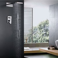 bath units - Rainfall And Waterfall Shower Head Set Hot And Cold Shower Faucet Sets Rectangle Unit Bath Shower Kit