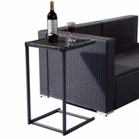 Wholesale Brown Coffee Tray Side Sofa End Table Rattan PE Wicker Square Glass Furniture HW52036