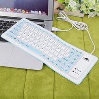 al por mayor usb con cable al por mayor del teclado de silicona-Al por mayor-Nuevo azul 88 teclas portátil atado con alambre impermeable flexible de silicona suave teclado del USB para PC al por mayor