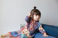 autumn vacations - 2016 Autumn Girls boho chic long sleeves pompon dress childrens cotton Vacation Dress color splicing Bohemian dress with bubbles colors