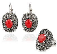 antique ruby jewellery - Hot Sale Bohemian African Beads Classic Jewelry Set Antique Silver Color Ruby Opal Resin Ring Earring Jewellery