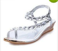 beauty wedge sandal - 2015 beauty explosion of Korean Rhinestones WEDGE SANDALS female fashion sexy summer beach shoes payment