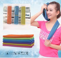 hand towels - Gifts package Cold Towel Summer Sports Ice Cooling Towel Double Color Hypothermia cool Towel cm for sports children Adult LC340