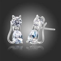 allergic baby - 925 Sterling Silver Cute kittens Kitty Cat CZ Stud Earrings For Children Girls Baby Kids Jewelry Gifts Pure Solid Anti Allergic