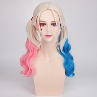 Wholesale 2016 New Movie Film Suicide Squad Harley Quinn Cosplay Wig Curly Gradient Halloween Party Hair Wigs