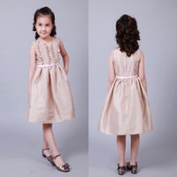 active wear kids - Petty Champagne girl Girls Summer Flower Dress Back With Zipper Pink Kids Autumn Vestido With Bow Sash For Everday Wear Child Clothes MC0201