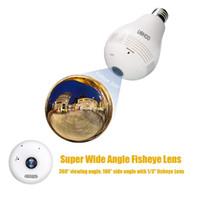 Wholesale 960P IP Camera Network Wi Fi panorama camera UOKOO Degree Fisheye Panoramic Network Wireless Camera LED Bulb Light White Spy bulb camera