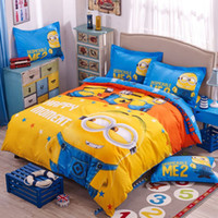 Wholesale Cartoon d Bedding Set Minions Mickey Mouse Hello Kitty Printed for Kids Cotton Bed Linen Duvet Cover Bed Sheet Pillowcases